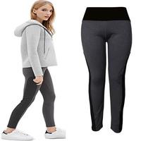 Sexy Women Patckwork Leggings Pants Plus Size Fitness Workout Pants 2015 New Fashion Women Patckwork Leggings Black 2XL 3XL