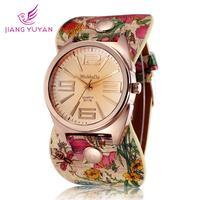 Fashion ladies watch flower design rose gold plated quartz watch women casual watch leather straps wristwatch