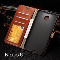 Crazy horse Vintage Retro Wallet Flip Leather Case Cover For Google NEXUS 6 For Moto Nexus 6 Case With Card Slot MOQ:100pcs