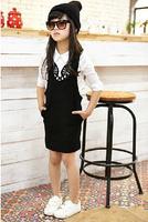 free shipping 2015 girls suspender sweet dress kid cute cotton vest dress for girls 2-7 years children,D107