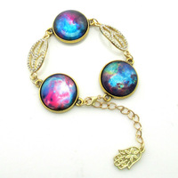 Galaxy Jewelry Bracelets Nubela Photos Glass Dome Inspired Bracelet With Glass Disk,Peace Crystal Charms 5 cm Chain Adjustable