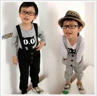 2015  Casual Cartoon Cat Spring Autumn Kids Clothes Sets Children Clothing Set Baby Boy T-shirt + Overalls Pants Suit  C059