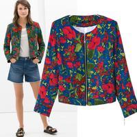 2015 new women's coat jacket fashion style printing outwear B-1209