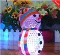 Wholesale Colorful Flash Christmas Snowman Snowflake Santa Claus LED Night Lights with Hang Rope Holiday Decorations 100pcs/lot