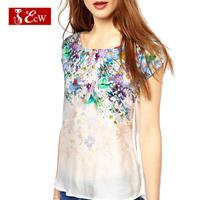 ECW New Arrivals 2015 Women T shirt Vintage Gradient Flower Print Splice T shirt Spring Summer Zipper Casual Bluasa