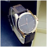 2015 New geneva Watches Luxury Brand Gold Leather / stainless steel Strap Watch for Men Quartz Analog business Wristwatch