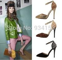 European catwalk hollow rivet diamond pointed high-heeled shoes Black gold leopard grain big yards of 40 yards