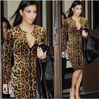 Hot Sexy Women Fashion Hollow Leopard Dress Slim Hip Package Mini Dress Clubwear free shipping