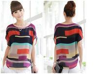 Lovely cute Women Irregular Chiffon Stripe Splicing Mutli-Color Bat Sleeve Shirt Blherenow svenWG712