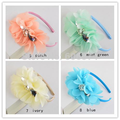 2015 New Hot Baby Girls Chiffon Flower Headband Floral Headwear Fashion Hairband Diamond & Pearl Hair Accessory Free Shipping(China (Mainland))