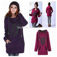 New Women's fashion O-Neck Cotton Loose  hedging Hoodies Long Sweatshirt Pullovers coat 6210
