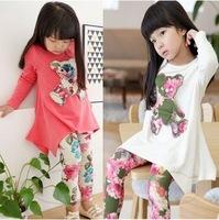 Retail 1 pcs New 2015 spring autumn girls bear long-sleeve t-shirt + flower legging clothing set cotton kids clothes sets