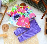 Retail new 2015 baby & kids summer girls t-shirt +legging clothing set kids floral cothes sets children's 2pcs suits