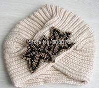 Ldies Winter Warm beads flower jewel knitted  turban Soft Knit Beanie headwrap hat 001