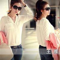 Free Shipping Women Clothes Korean 2015 New Women's Casual Loose V-neck Long-sleeved Shirt Bottoming Shirts Chiffon Blouses