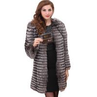 2015 New Fashion Fur Genuine Coat Silver Fox Outwear Coats Plus Size Design for Women Jacket Free Shipping