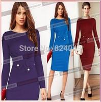 Free Shipping 2015 New Elegant O-Neck Fashion Celebrity Pencil Women Wear to Work Button Slim Shiring Empire Party Dress