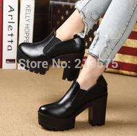 2015 fashion winter thick heel platform high-heeled boots women's platform shoes round toe ankle HARAJUKU vintage single boots