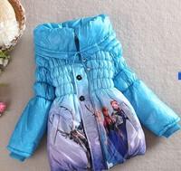 Retail 1 Pcs New 2015 girls frozen coat winter fleece thick warm jacket children cotton-padded kids down outwear