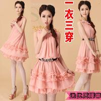 Female pure sweet chiffon one-piece dress casual loose gentlewomen sleeveless princess dress