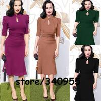 Purple Women Dresses Midi Hollow Out V-neck Evening Party Fashion Dresses Autumn Women Office Pecnil Dresses Size S M L XL XXL