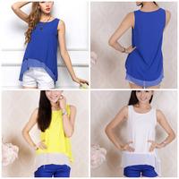 2015 Summer Casual Sexy Womens Lady Double Irregular Chiffon Vest Blouse Tank Top Sleeveless T Shirt Camisole Blusas Wholesale