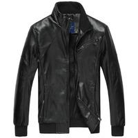 Men's Leather Jacket fashion Regular Fit handsome Korean style Men coat Short length Zipper Breasted Rib sleeve Men Jacket