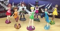 Free Shipping Anime Cartoon Tinkerbell Fairy PVC Action Figure Toys Girls Dolls Gift 7pcs/set