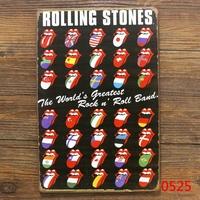 ROLLING STONES Tongue Flag TIN SIGN Wall Painting ART Metal Decor B-42 Mix order 20*30 CM