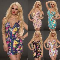 Women sexy club zipper floral print dress off-shoulder packet hip clubwear