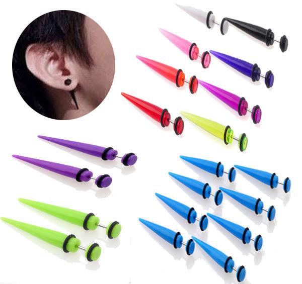 1Pcs Acrylic Fake Ear Expander Plug Women/Men Transparent/Solid Arcylic Ear Taper Piercing Unisex Fake Taper Fake Ear Plug(China (Mainland))