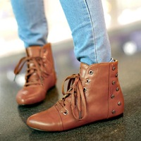 New 2015 Women Short Summer & Winter Boots British Style Flats Ankle Boots Rivet Martin Motorcycle Boots Plus Size 34-43