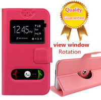 new free shipping quality flip leather 5.0 inch case for Huawei Ascend G620S case with view window 1H