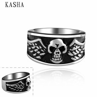 Stylish New 316L Stainless Steel Men's Skull Rings Punk Vintage Party Skeleton Jewelry 316L stainless steel punk ring KASHA013