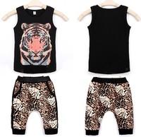 Retail new 2015 boy's set Tiger print t-shirt + leopard short clothing set summer black tee + shorts clothes sets