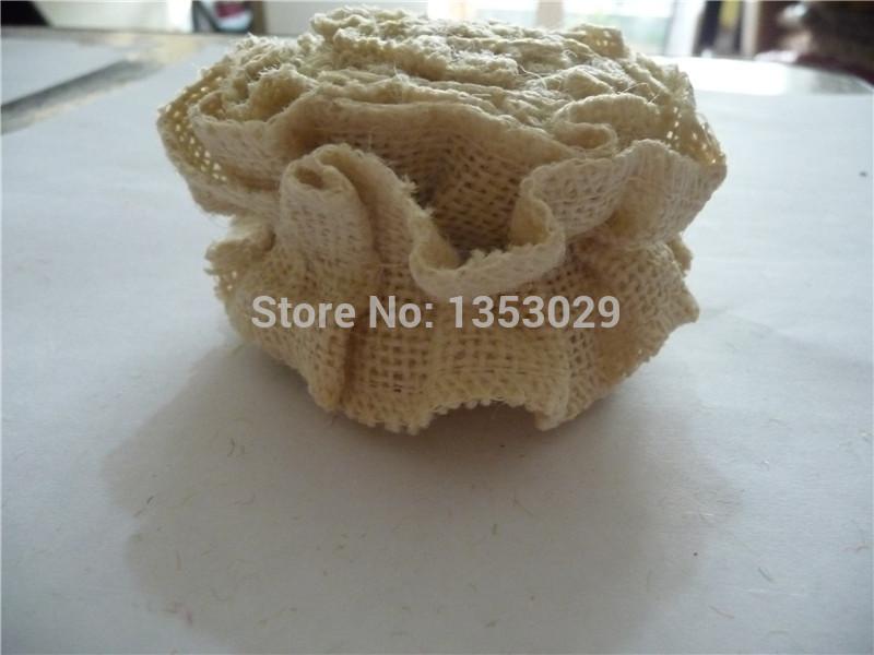 Free Shipping 1Meters x 5cm Country Rustic Wedding Handmade Beige Ruffled Burlap Fabric Ribbon Trim Natural Jute Flower Ribbon(China (Mainland))