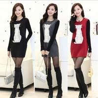 2014 winter long letters in Korean fashion female models fitting long sleeved dress