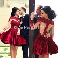 In Stock Cheap Price Women Vestidos Ball Gown Sheer Long Sleeves Dark Red Short Prom Dresses