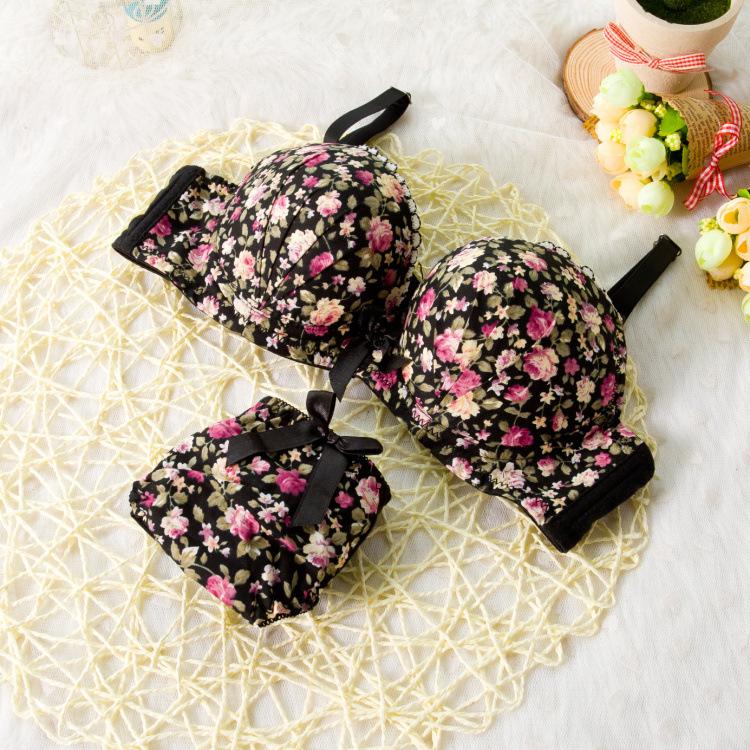 Seamless Underwear Brassiere Modal Comfortable Bra Set Print Floral Bra Brief Sets Sexy Bra And Panty Set Conjunto Lingerie N5(China (Mainland))