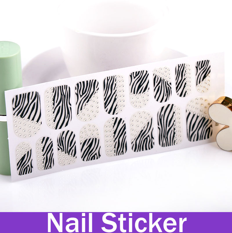 New Arrival Zebra Stripe 3D Rhinestone Nail Wraps Strips nail design stickers stickers for nail design(China (Mainland))