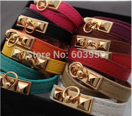 Fashion Jewelry H brand classic kelly spike punk rock double wrap pu leather bracelets(China (Mainland))
