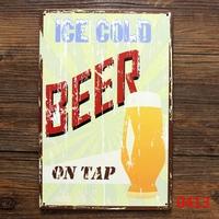ICE COLD BEER TIN SIGN Vintage Wall ART Deco Pub Poster Metal Decor  20*30 CM Mix Items L-135