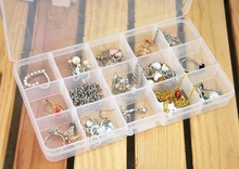 New Transparent Adjustable Plastic 15 Slots Compartment Storage Box Jewelry Earring Bin Case Container free shipping