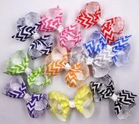 "20pcs 3"" Chevron Bautique Hair Bow   Clips Mixed 10 Colors headwear Accessories"
