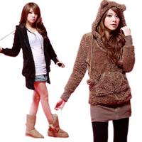 Womens Hoodie Fleece Warm Winter Zipper Teddy Bear Ear Coat Jacket Outwear Tops Free Shipping
