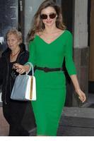 vestidos femininos Green Belted Pencil Midi Dress With Waistbelt LC6711 new 2015 sexy women summer dress vestido de festa