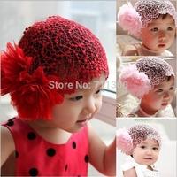 Newborn Baby Toddler Girls Headband Hat Beanie Flower Hair Band Lace Elastic New Hair Accessories Free Shipping