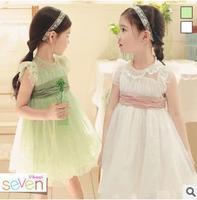 2015 Korean version of the new summer children dress girls lace princess tutu dress party dress veil Kids