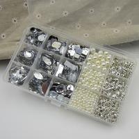 Mix Size 1150PCS ABS pearl Beads and Glass claw rhinestone for wedding dress decoration DIY,Mixed flatBlack acrylic rhinestones