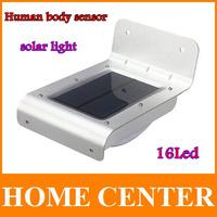16 LED Solar Power Motion Sensor Human Body Sensor Lamp Outdoor Waterproof wall Lights led lamps For Home Garden Free shpping